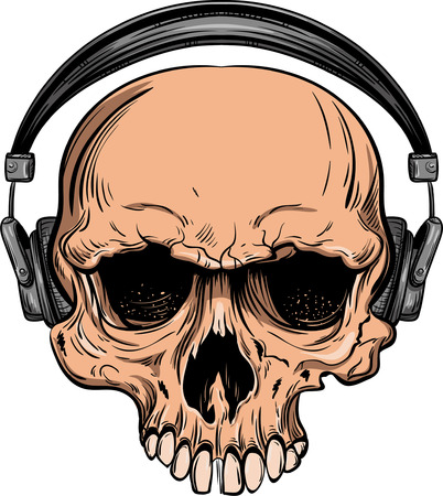 Hand sketch of a skull with headphones vector illustration