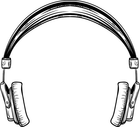 Auriculares vintage dibujados a mano en color blanco vector illustration Foto de archivo - 88591044