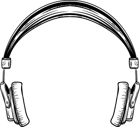 Handgetekende vintage koptelefoon in kleur witte vector illustratie