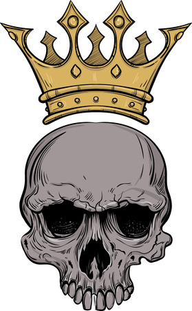 Colorful hand drawn sketch skull with crown for tattoo line art vector illustration Illustration