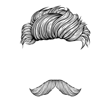 Mustache and hair style set.