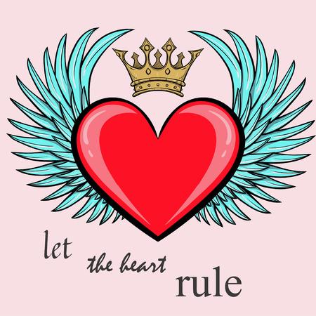 Der Valentinstag Hintergrund mit Flügeln und Herz, Liebe (Vektor) Standard-Bild - 89688356