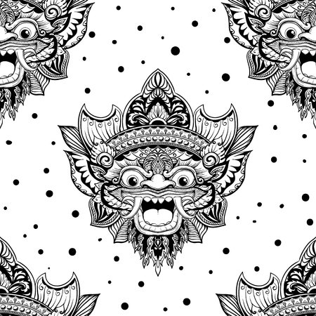 Seamless outline pattern with barong mask in black and white colors