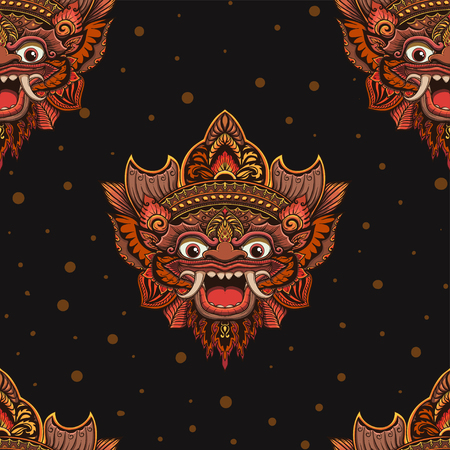 Seamless outline pattern with barong mask