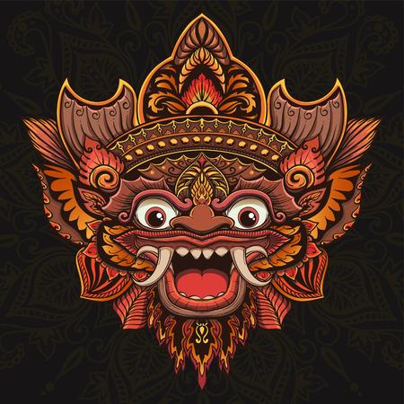 Traditional ritual Balinese mask Vector Illustration