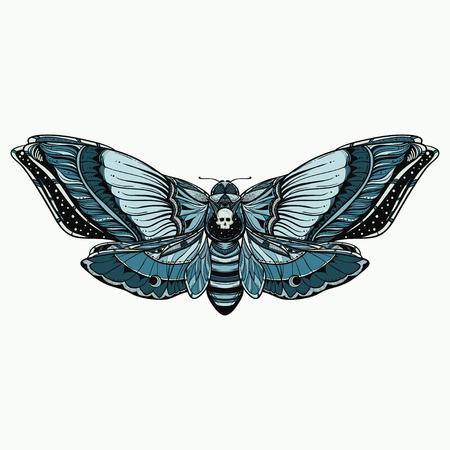 黒と白のデッドヘッド蝶落書きイラスト 写真素材 - 91939528