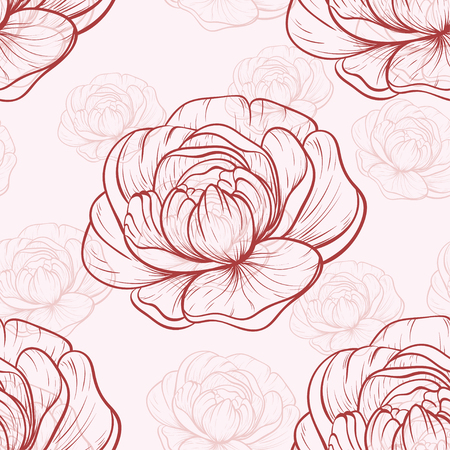 Vector seamless pattern with peonies