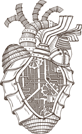 Hand drawn illustration of mechanical heart