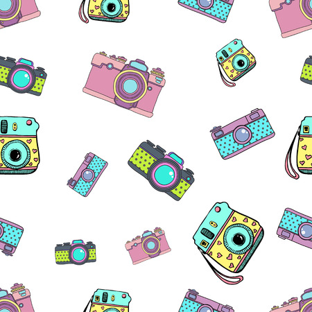 Cute doodle camera print, seamless pattern for textile and paper good