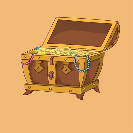 Illustration of open treasure chest full of gold