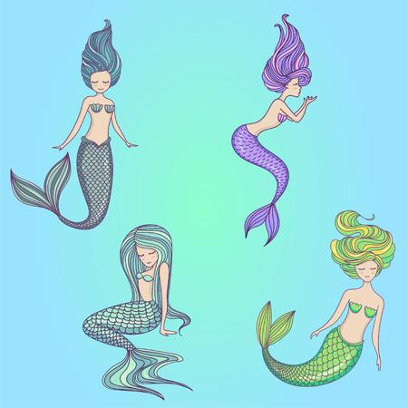 Beautiful little mermaid set. Siren. Sea theme. Hand drawn vector illustration.