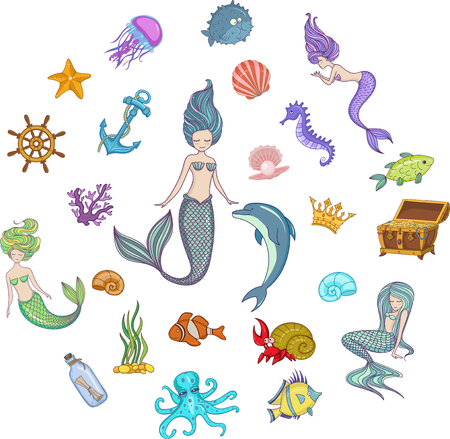 Under The Sea - Mermaid Character Set Illustration