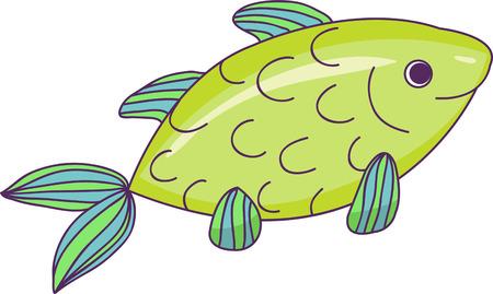 Cartoon fish. Vector illustration .