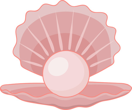 Sea shell with pearl icon. vector illustration of sea shell with pearl vector icon for web