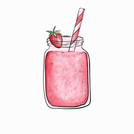 Bottle smoothie with strawberry. Vector illustration. Detox and healthy eating concept. Hand-drawn Watercolor