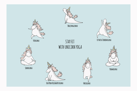 Hand drawn cute unicorn set in yoga pose 일러스트