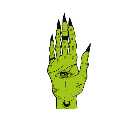 Witch hands with black nails, rings, Magic. Boho style. Banco de Imagens
