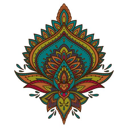 Filigree lotus flower, colorful vector handdrawn illustration