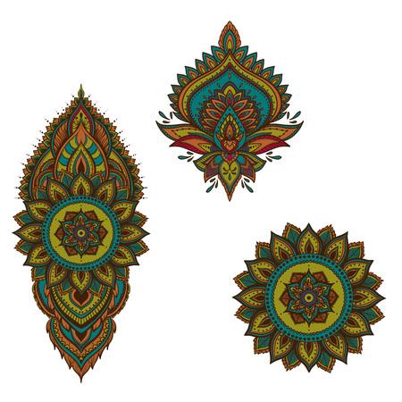 Set of vector Indian floral ornaments. Mandala. Lotus flower. Henna Ilustração