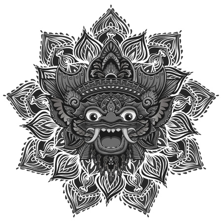 Traditional ritual Balinese mask. Vector outline illustration for coloring book isolated. Ilustração