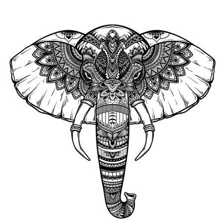 Ornate inked decorative elephant portrait . tribal spiritual animal. Tattoo. Hand drawn vector illustration
