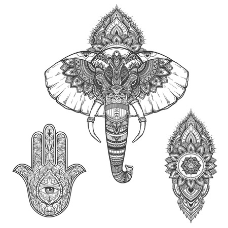 Ornate inked decorative elephant portrait, mehndi and hamsa set. tribal spiritual animal. Tattoo. Hand drawn vector illustration. .