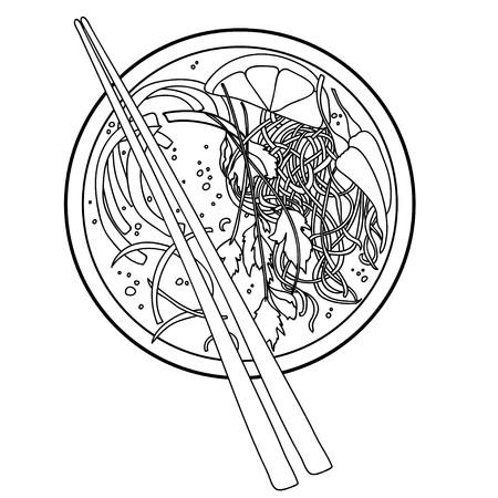 A bowl of thai chicken noodle soup