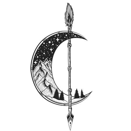 Moon, arrow tattoo Vector illustration. Dot work