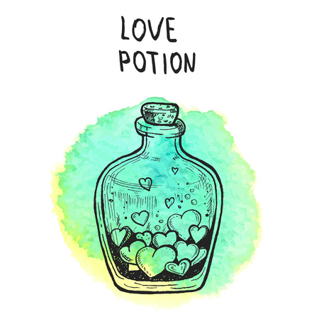 Bottle with love potion. Old school tattoo style. Hand drawn illustration converted to vector.