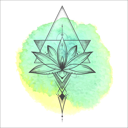 Lotus flower . Sacred geometry. Vector illustration isolated on white.