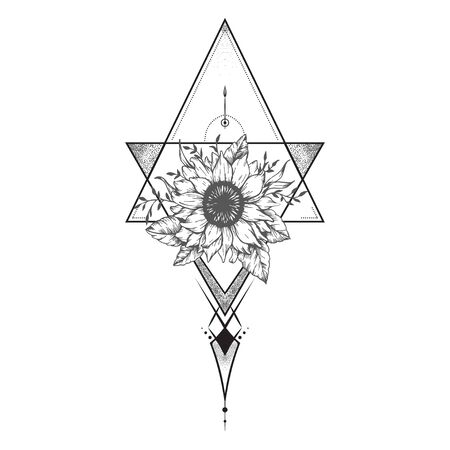Blackwork tattoo flash. flower over sacred geometry. Highly detailed vector illustration isolated on white. Tattoo design, mystic symbol. New school dotwork. Print, posters, t-shirts and textiles Иллюстрация