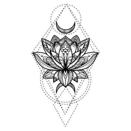 Filigree lotus flower, vector handdrawn illustration on secred geometry sign
