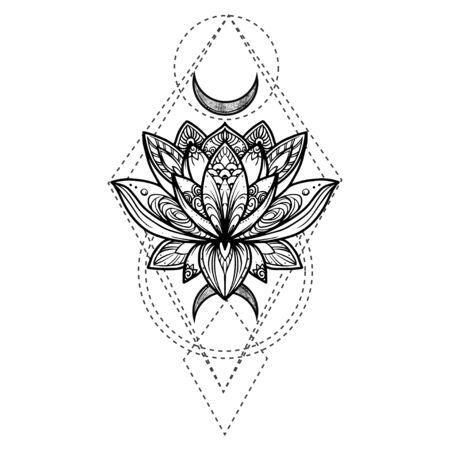 Fiore di loto in filigrana, illustrazione disegnata a mano di vettore sul segno di geometria segreta Vettoriali