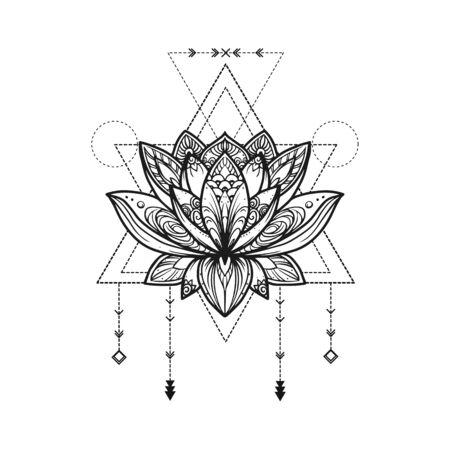 Filigree lotus flower, vector handdrawn illustration on secred geometry sign Ilustração Vetorial
