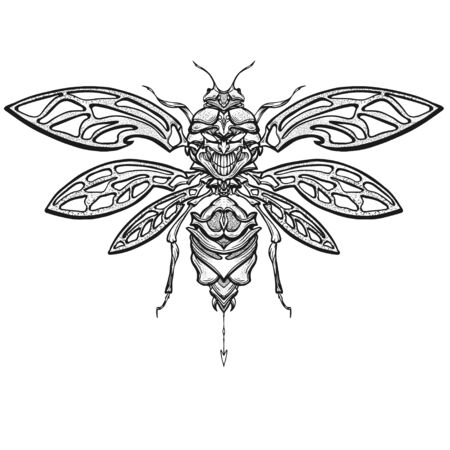 Hand drawn Insect beetle with skull. Isolated on white. Vector illustration. .Element for print, design tattoo art, adult coloring page.