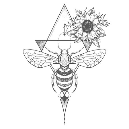 Vector illustration with hand drawn bee and Sacred geometric symbol on white background. Abstract mystic sign. Black linear shape. For you design: tattoo, print, posters, t-shirts, textiles.