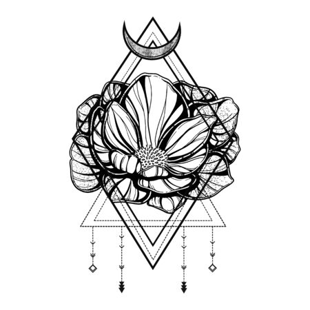 Rose flower with sacred geometry frame.Tattoo, mystic symbol. Boho print, poster, t-shirt. textiles. Vector illustration art. Vintage engraving. Vintage style. Traditional art tattoos. Blackwork. Vektoros illusztráció
