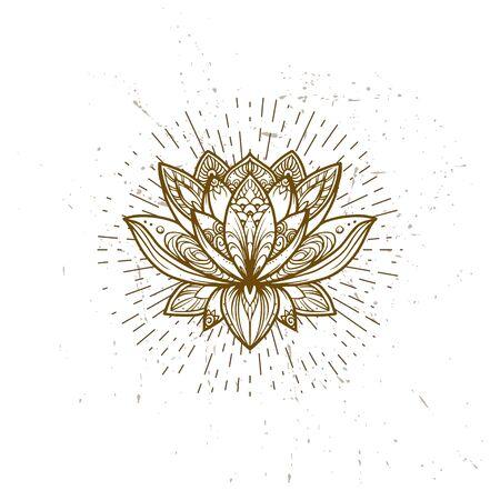 Filigree lotus flower, vector handdrawn illustration on secred geometry sign