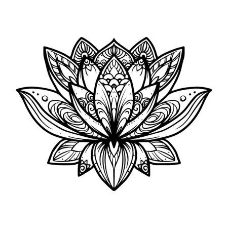 Filigree lotus flower, vector hand drawn illustration Ilustração
