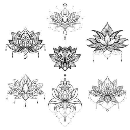 Filigree lotus flower set, vector handdrawn illustration Vectores
