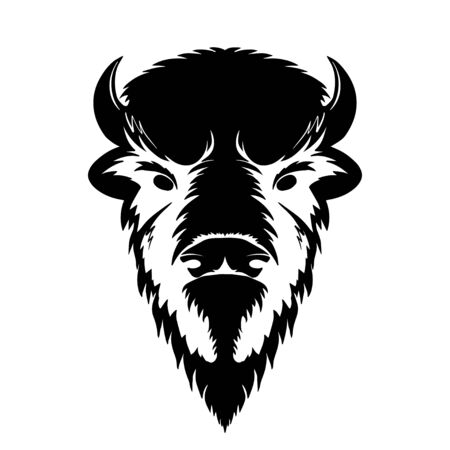 Bison Head Logo black white Mascot Emblem