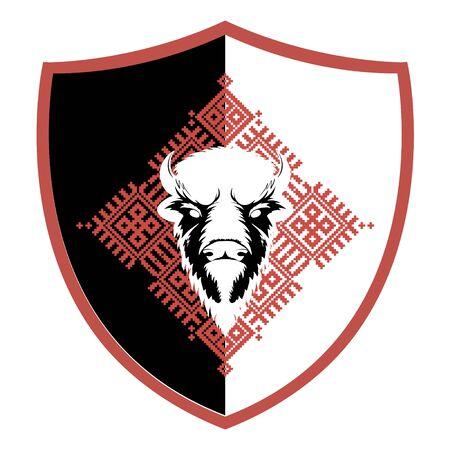 Bison Head Logo Mascot Emblem on slavic red national ornament