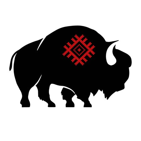 Abstract silhouette of bison with slavic red national ornament