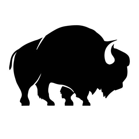 Abstract silhouette of bison .Vector badge Иллюстрация
