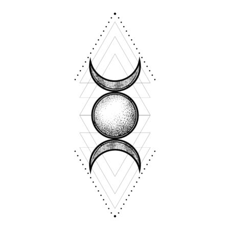 Sacred geometry symbol including moon, sun. Modern esoteric decorative element.