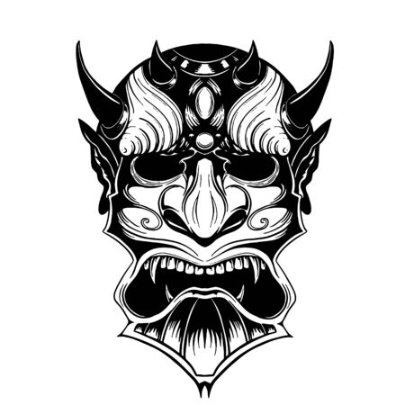Hand drawn demon mask devil with horns