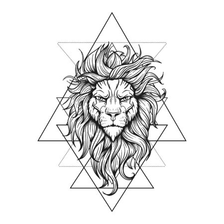 Vector Black and White Tattoo Lion Illustration on geometry sign