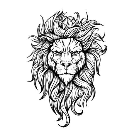 Vector Black and White Tattoo Lion Illustration Ilustração