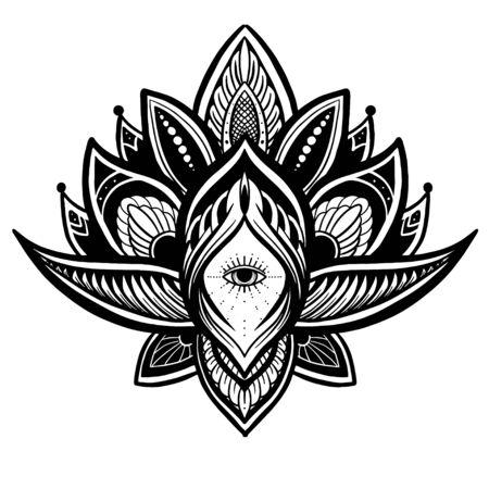 Filigree lotus flower, black vector, hand drawn