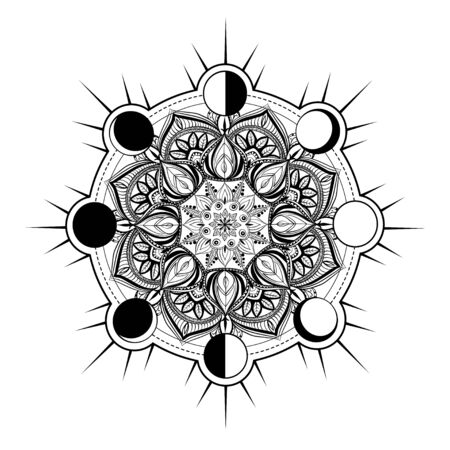 Circular pattern in form of mandala for Henna, Mehndi, tattoo, decoration. Decorative ornament in oriental style with Religious Islamic symbol of Star and Crescent. Coloring book page. Ilustração